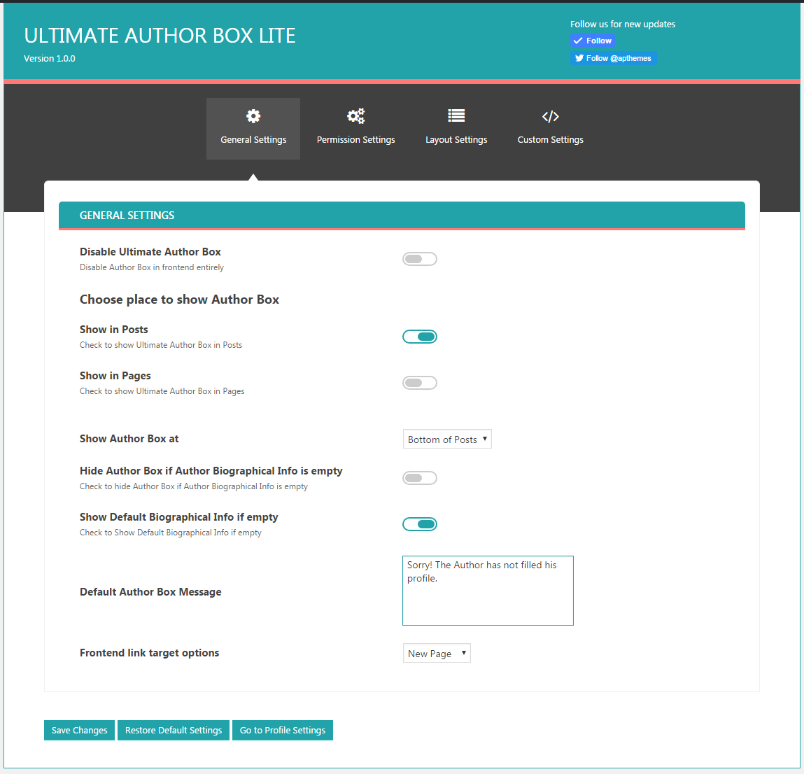 Ultimate Author Box Lite: General Settings Tabs