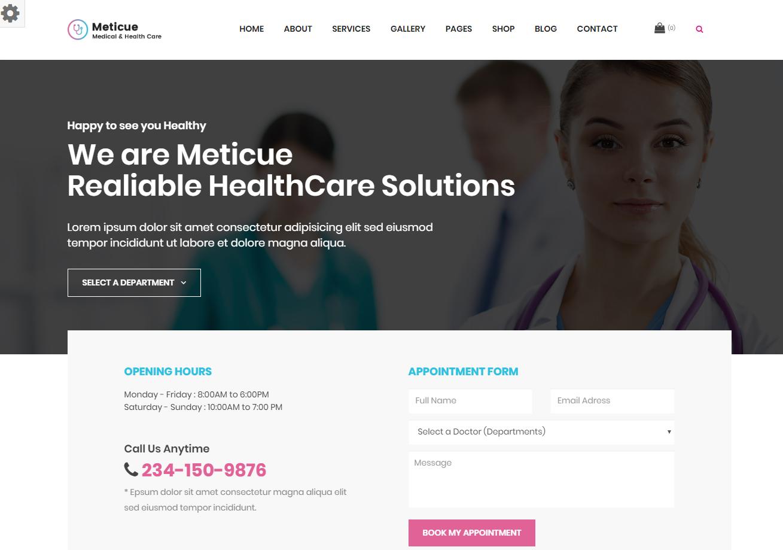 Meticue - Premium Multipurpose Medical WordPress Theme