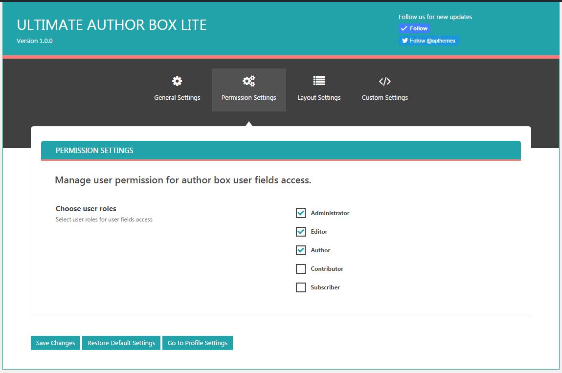 Ultimate Author Box Lite: Permission Settings Tab