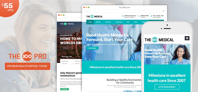 The100 Pro – Multipurpose and Multi layout Premium WordPress Theme