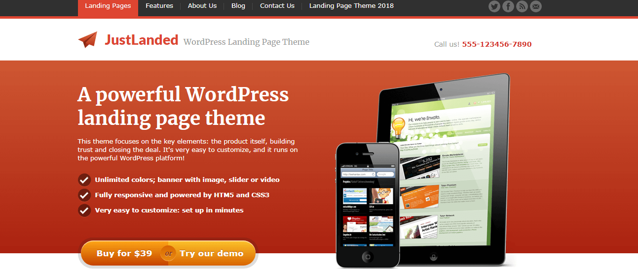 Just Landed - Best Premium WordPress Landing Page Themes