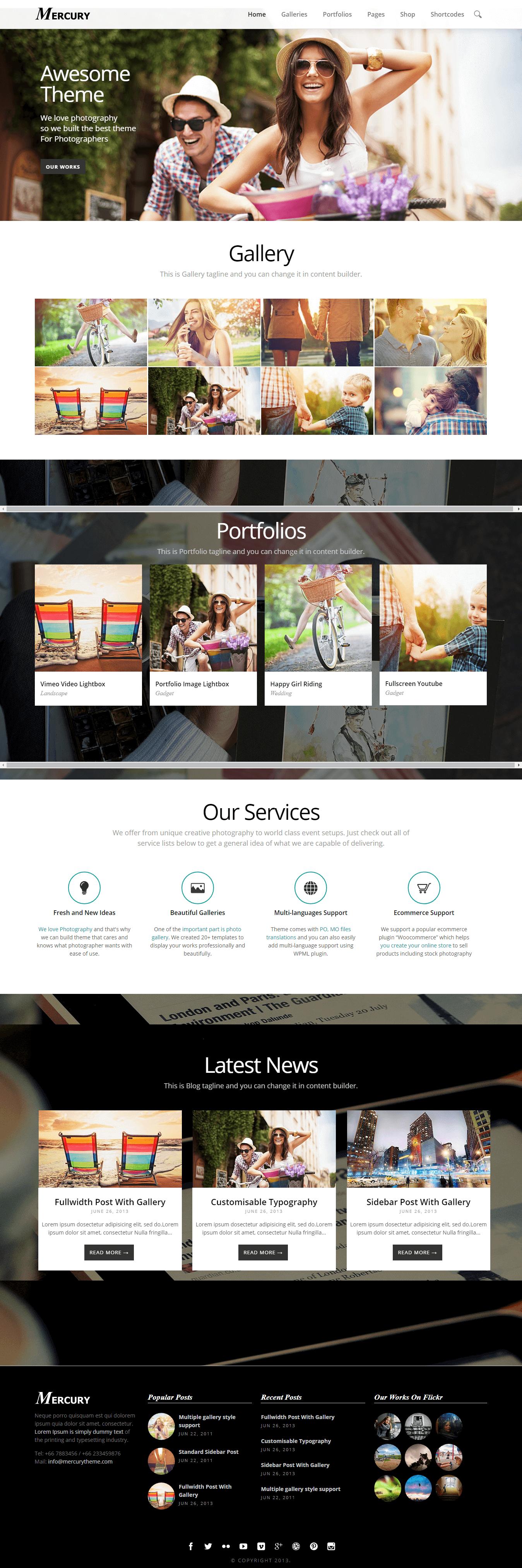Mercury - Premium Photography WordPress Themes and Templates