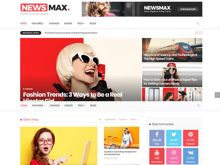 Newsmax - Best Premium News Magazine WordPress Themes