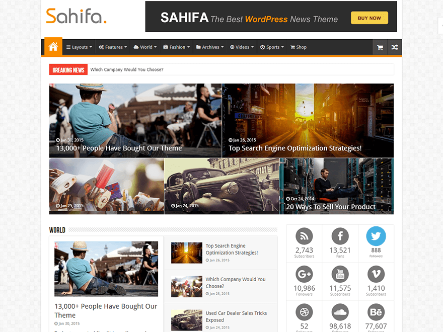 Sahifa - Best Premium News Magazine WordPress Themes