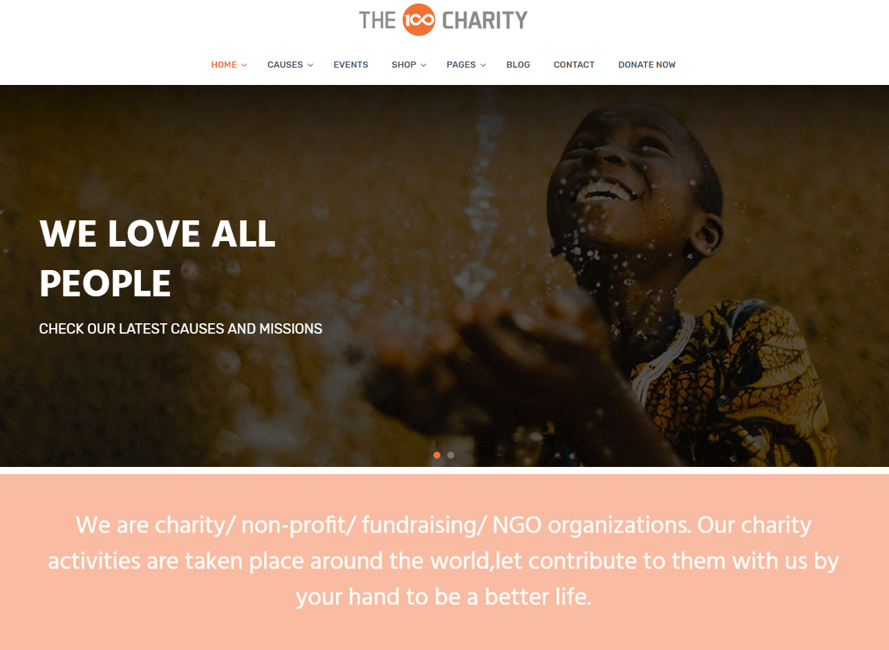 the100 pro premium multipurpose theme charity demo layout
