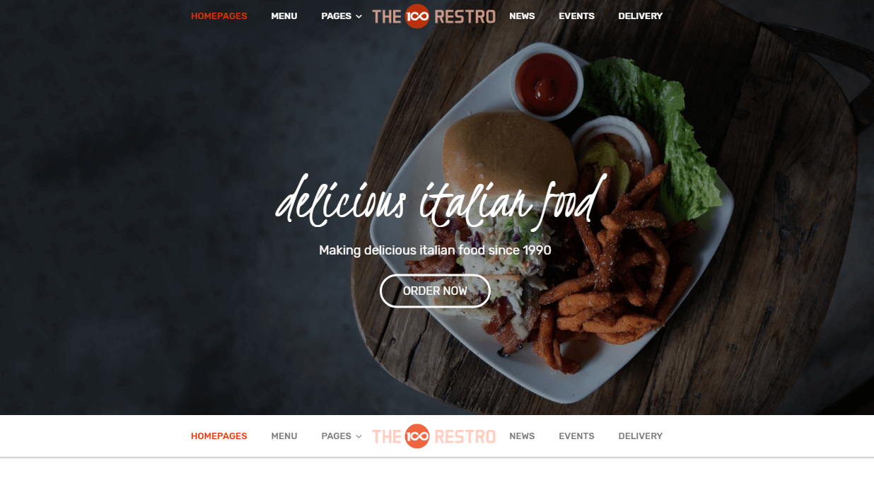 the100 pro premium multipurpose theme restaurant demo layout