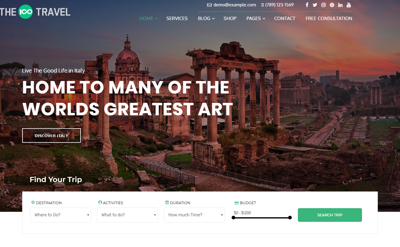 the100 pro premium multipurpose theme travel demo layout