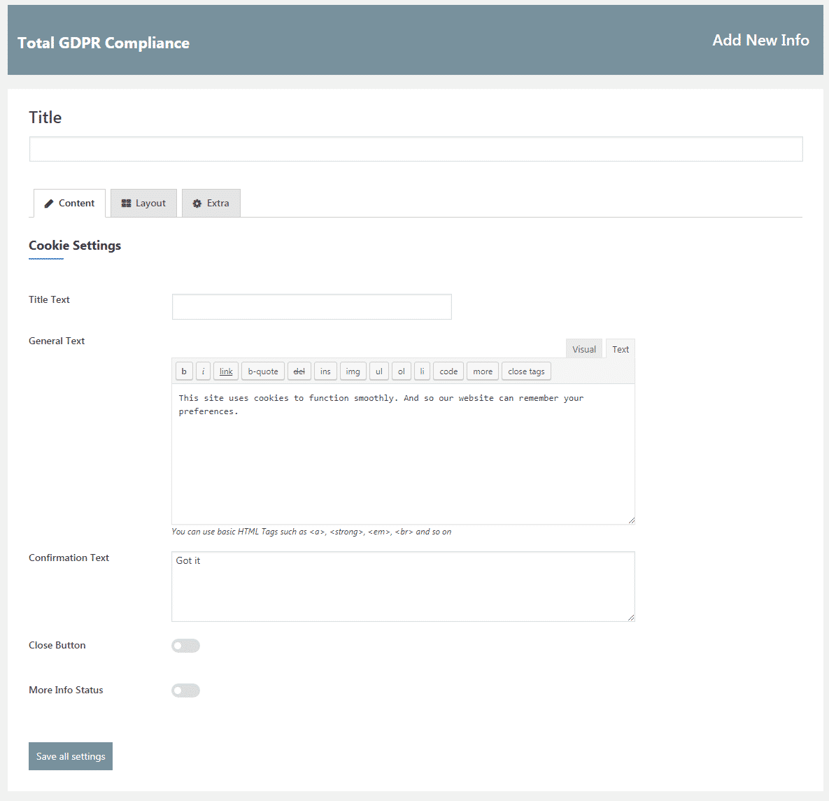 Total GDPR Compliance: Add Edit Cookie Template Content