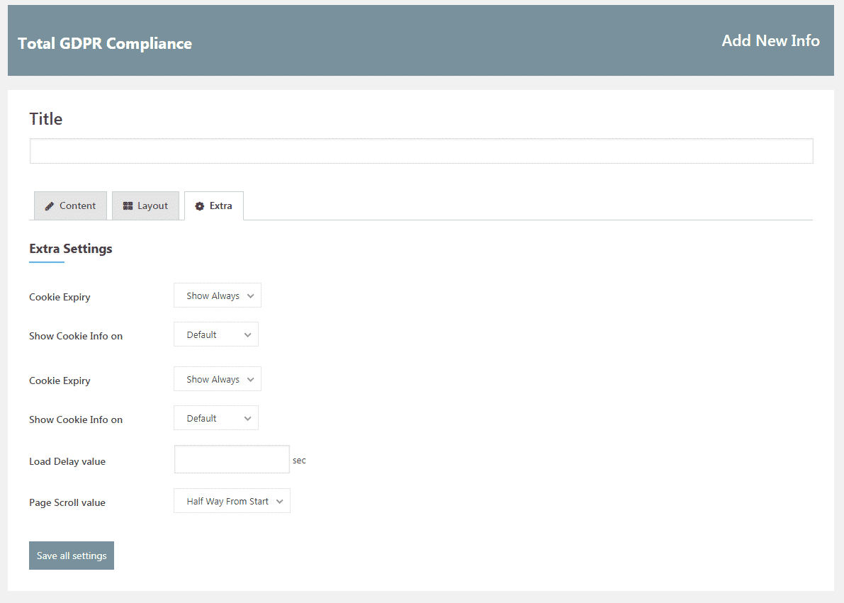 Total GDPR Compliance: Add Edit Cookie Template Extra