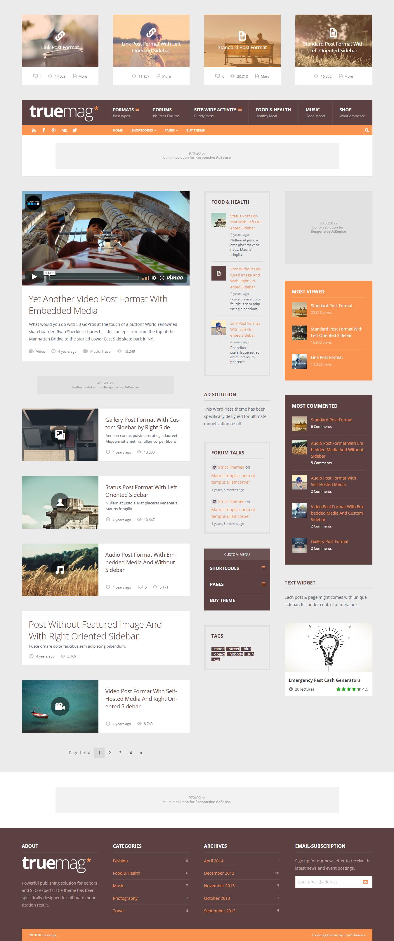 TrueMag - Best Premium Adsense Optimized WordPress Theme