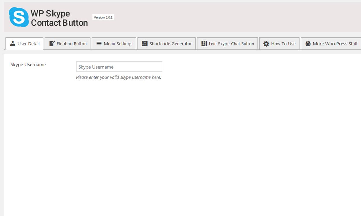 Add Skype Button on your WordPress Website: User Details