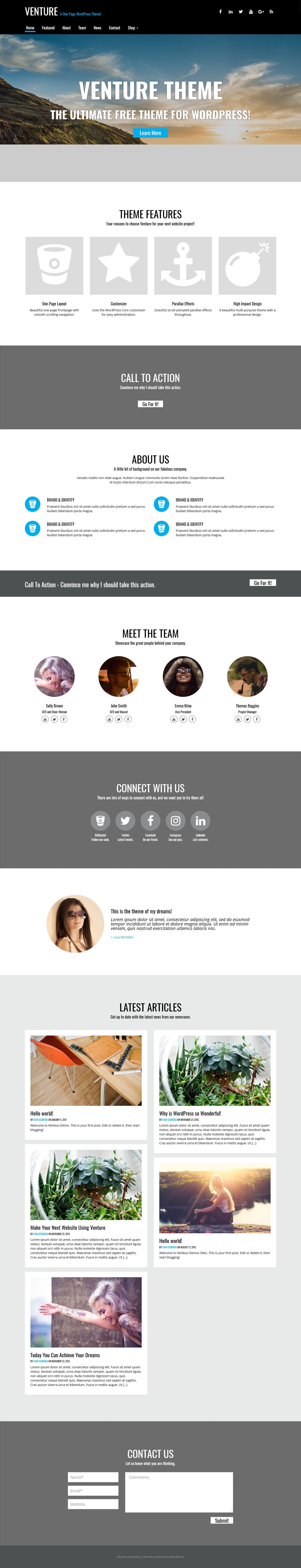 Venture - Best Premium Parallax WordPress Theme