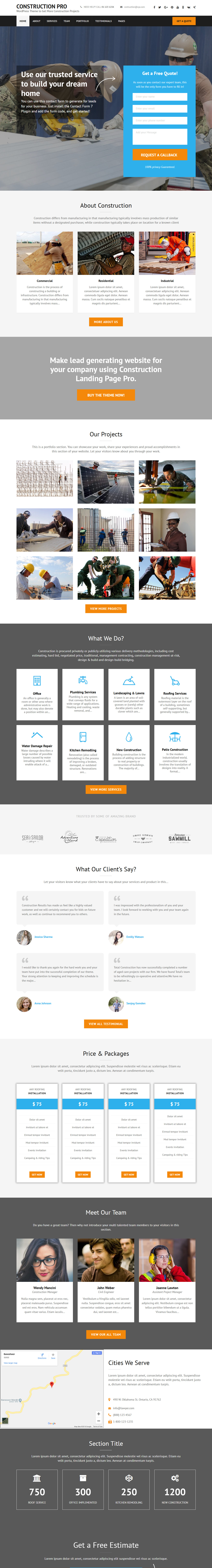 Construction Landing Page Pro - Best Premium Construction Business Company WordPress Themes and Templates