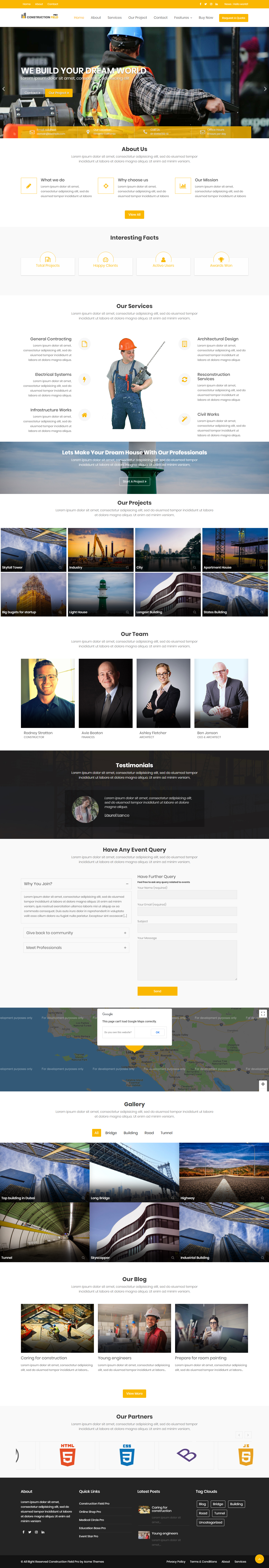 Construction Field Pro - Best Premium Construction Business Company WordPress Themes and Templates