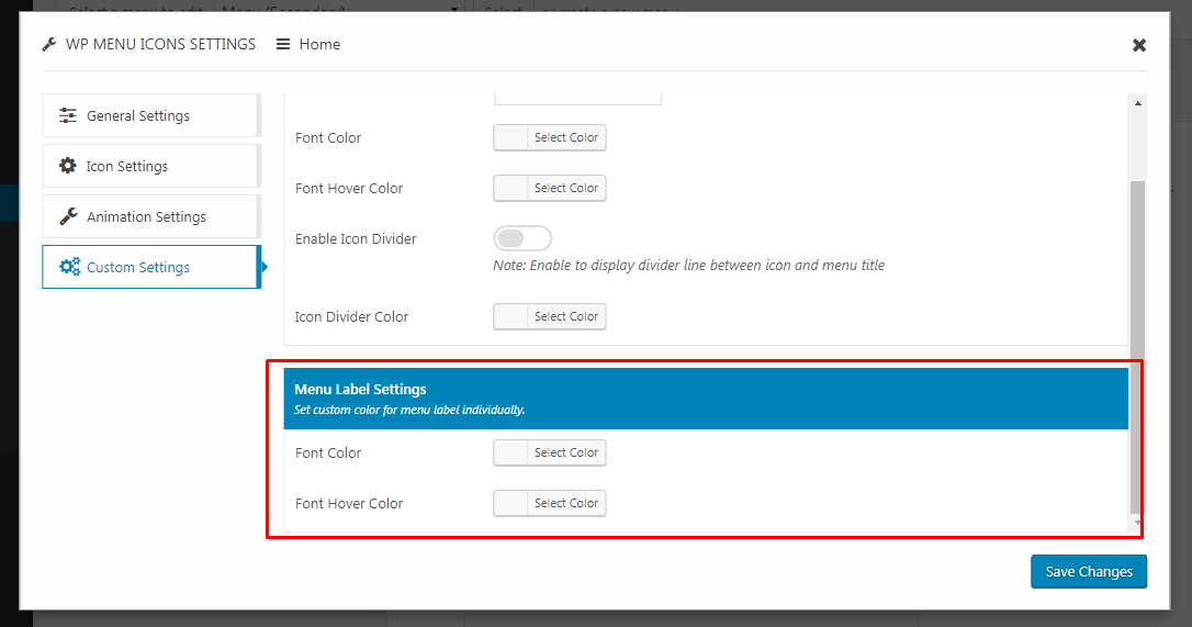 WP Menu Icons - Custom Menu Label Styling Settings