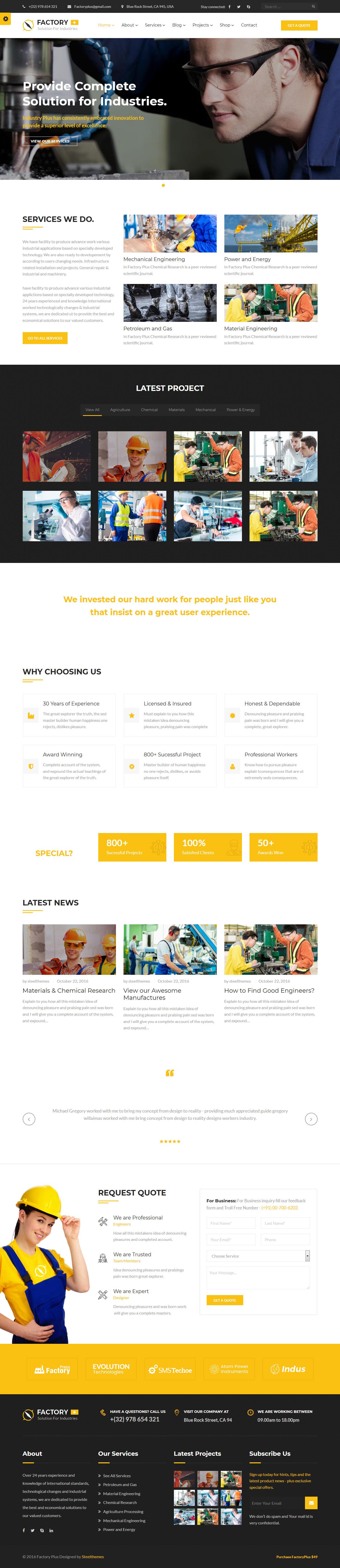 Factory Plus - Best Premium Construction Business Company WordPress Theme