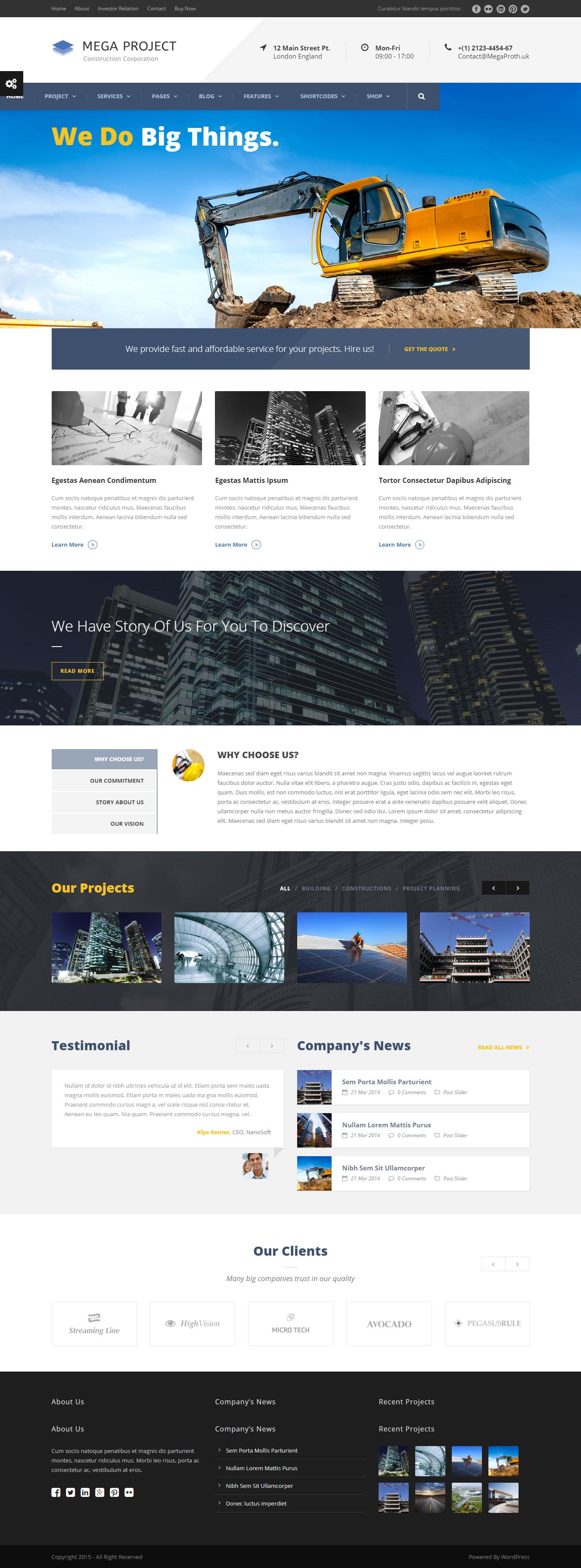 Mega Project - Best Premium Construction Business Company WordPress Theme