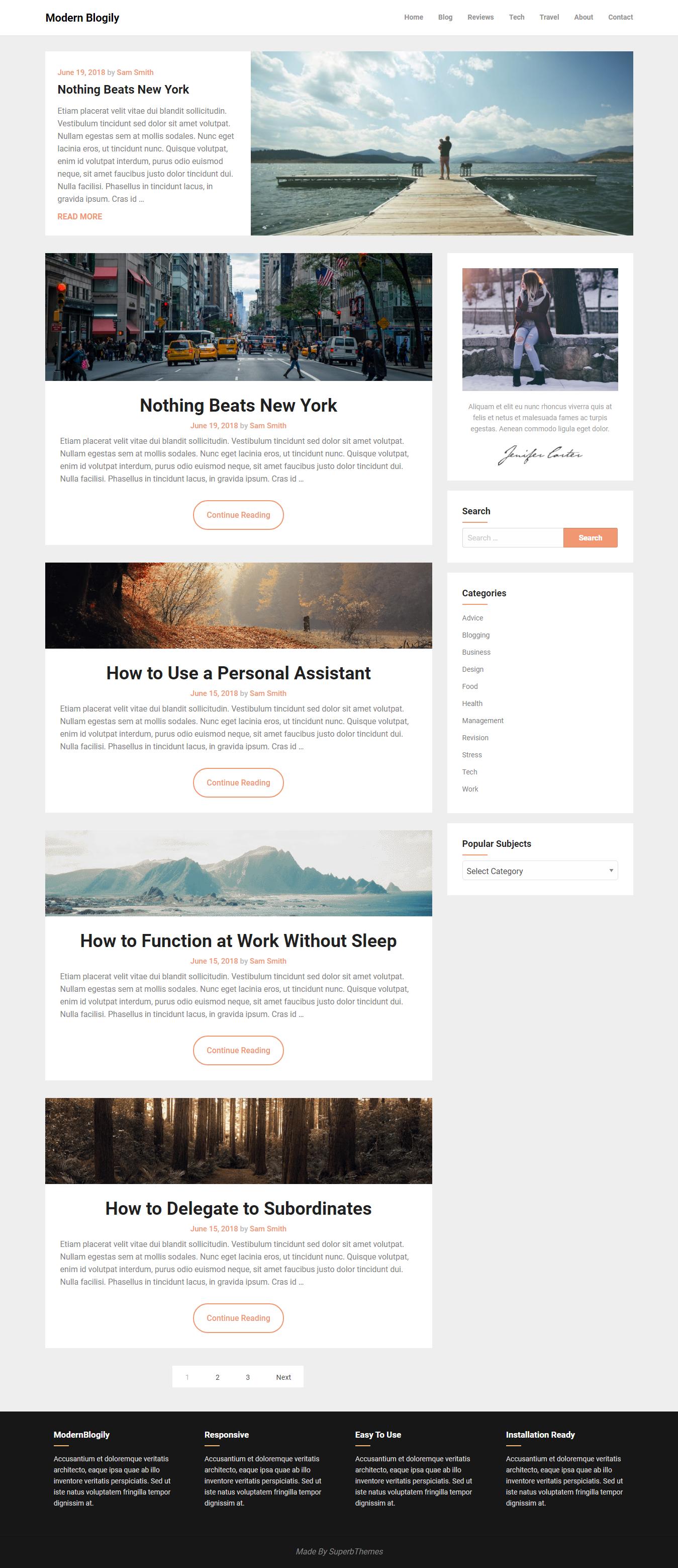 ModernBlogily – Best Free Minimal WordPress Theme