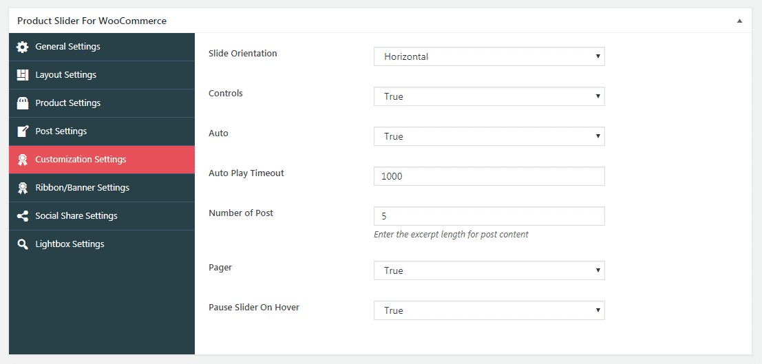 Product Slider for WooCommerce: Customization Settings