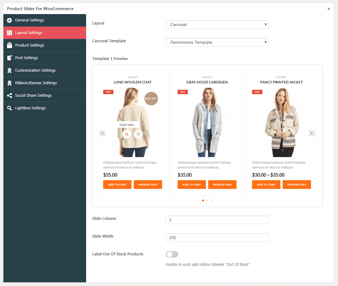 Product Slider for WooCommerce: Layout Settings