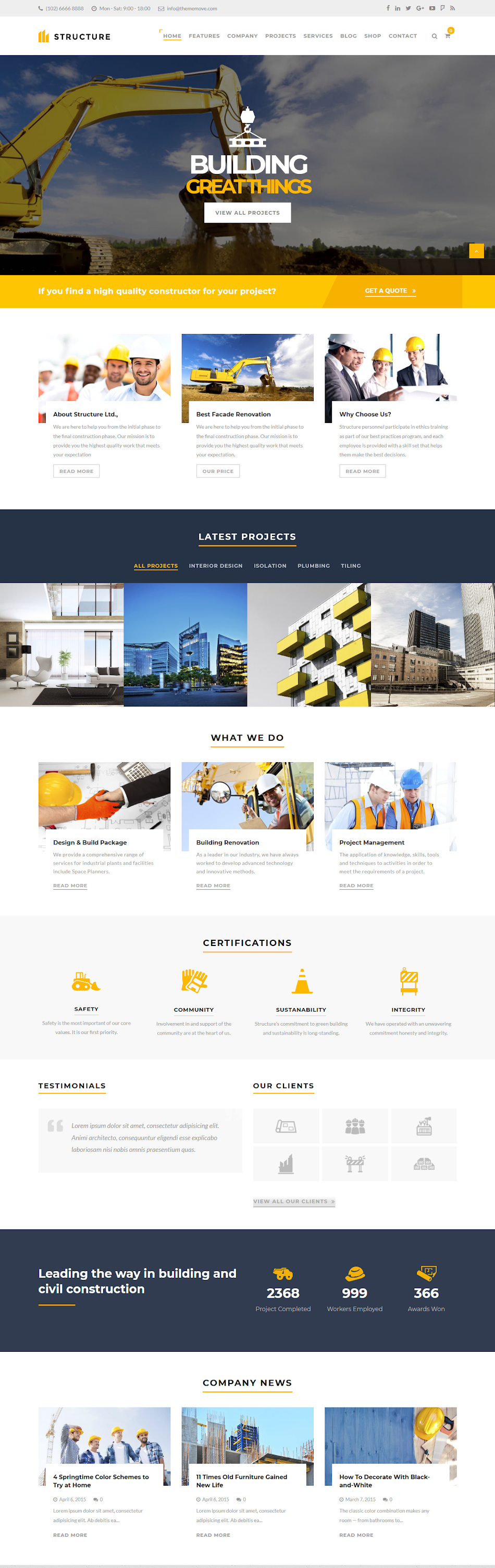 Structure - Best Premium Construction Business Company WordPress Theme
