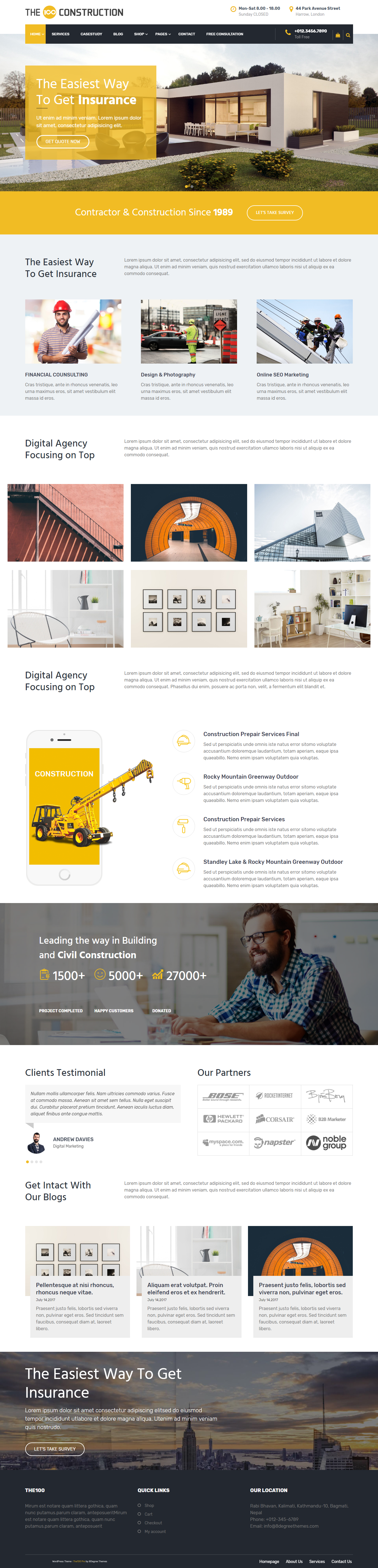 The100 Pro - Best Premium Construction Business Company WordPress Themes and Templates