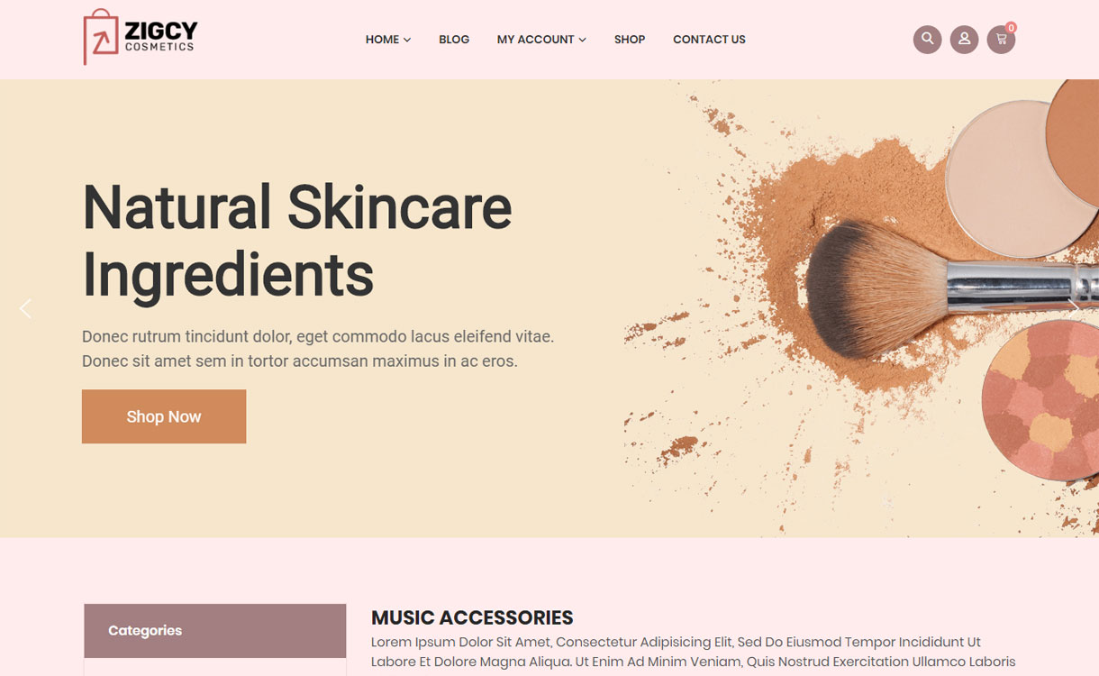Zigcy cosmetics - WordPress eCommerce theme