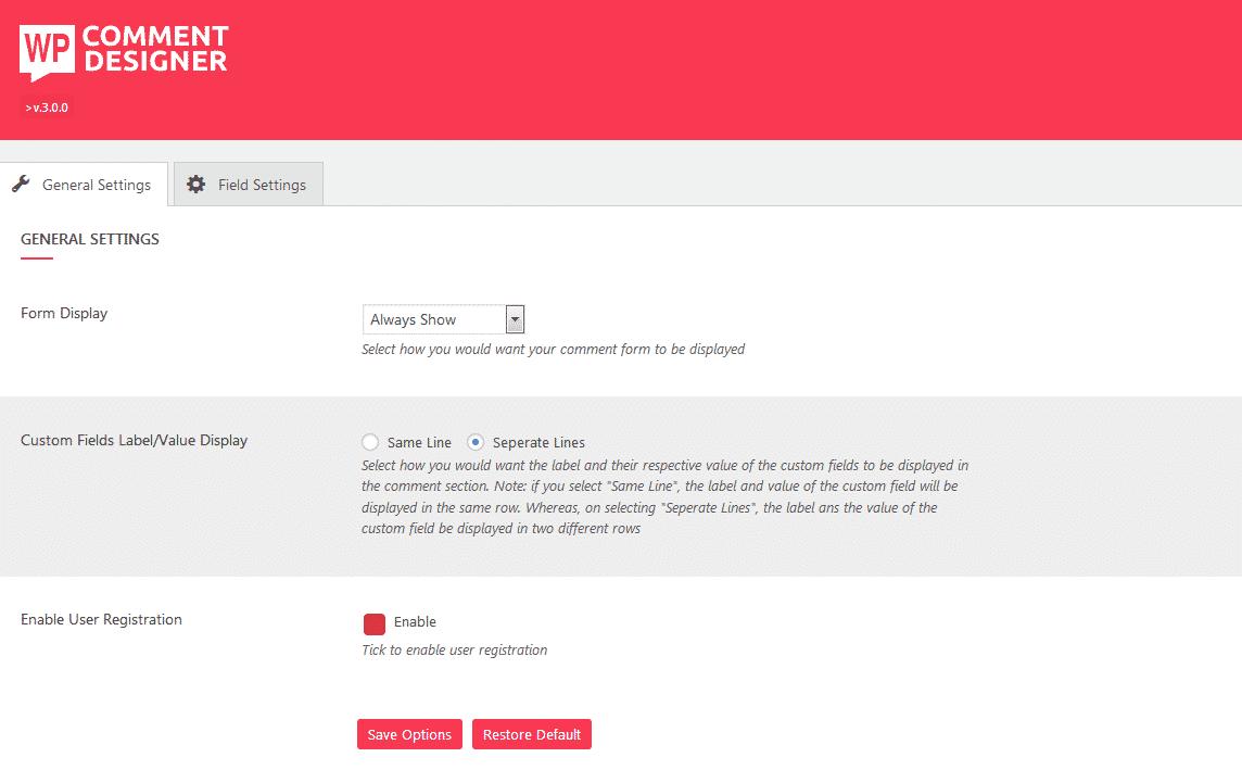 WP Comment Designer: Comment Form Builder General Settings