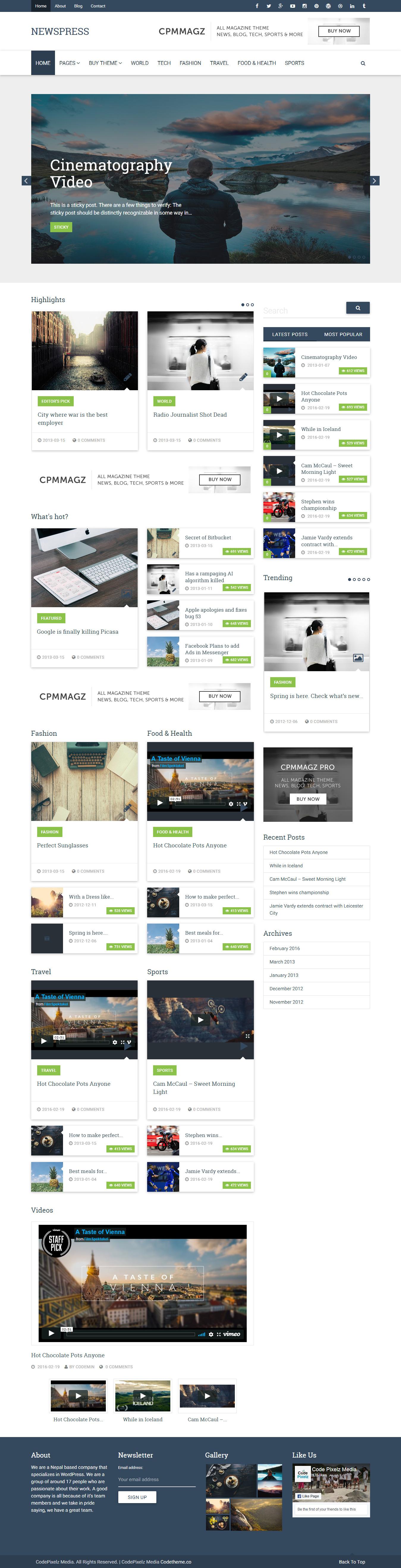 CPMmagz - Best Free Material Design WordPress Theme