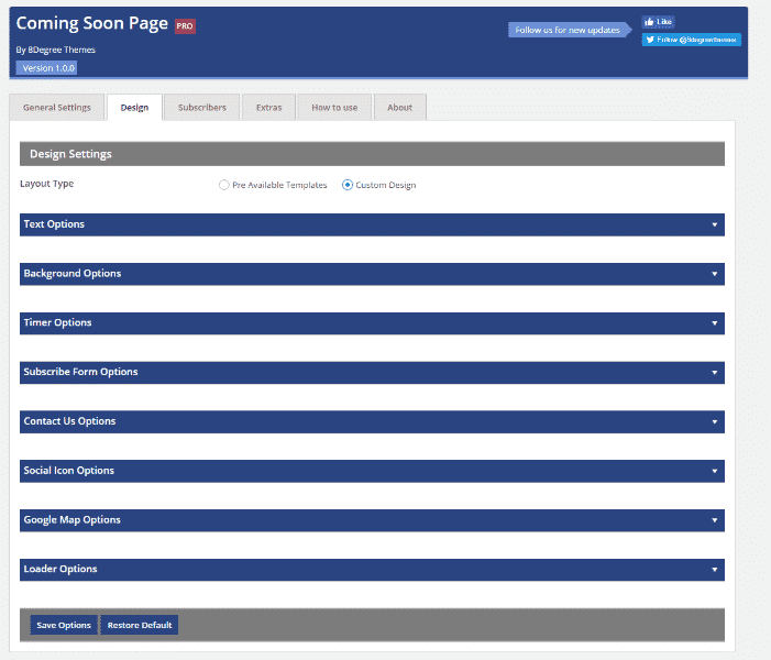 Coming Soon Landing Page and Maintenance Mode: Custom Design Settings