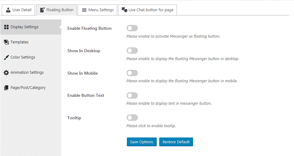 Ultimate Contact Button: Display Settings