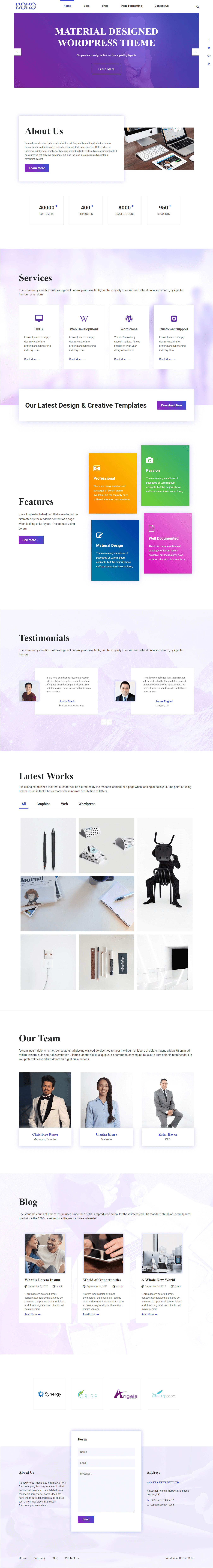 Doko - Best Free Material Design WordPress Theme