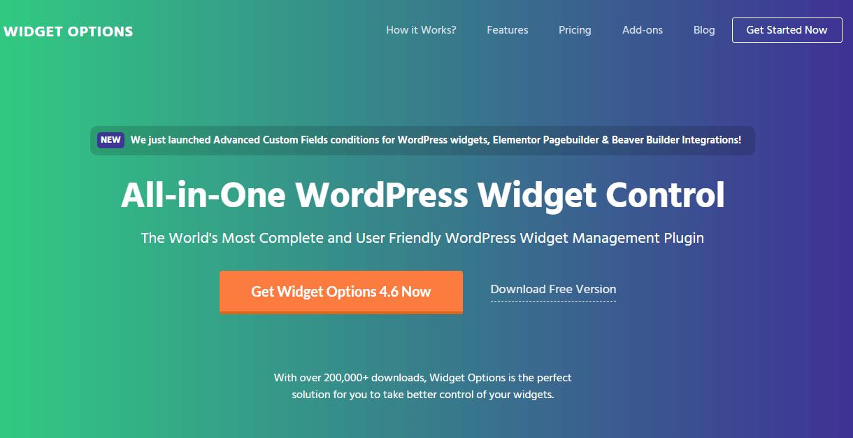 extended widget options