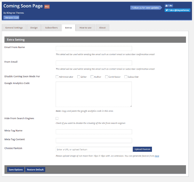 Coming Soon Landing Page and Maintenance Mode: Extra Settings