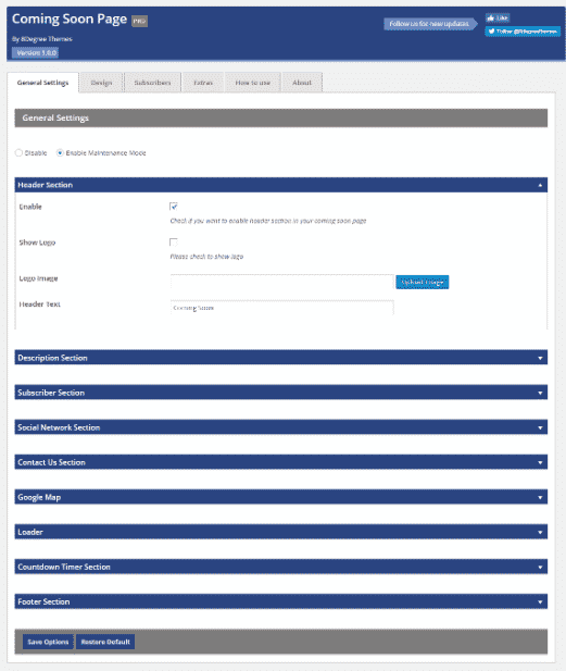 Coming Soon Landing Page and Maintenance Mode: General Settings