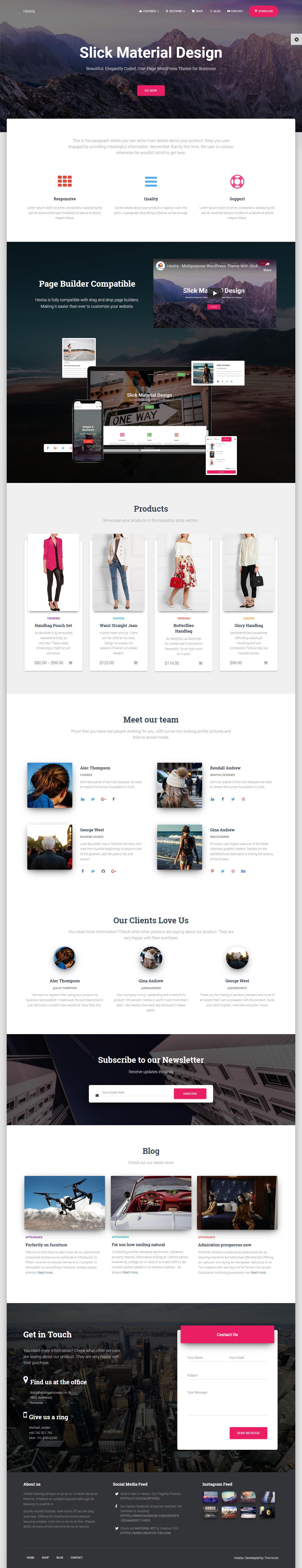 Hestia - Best Free Material Design WordPress Theme