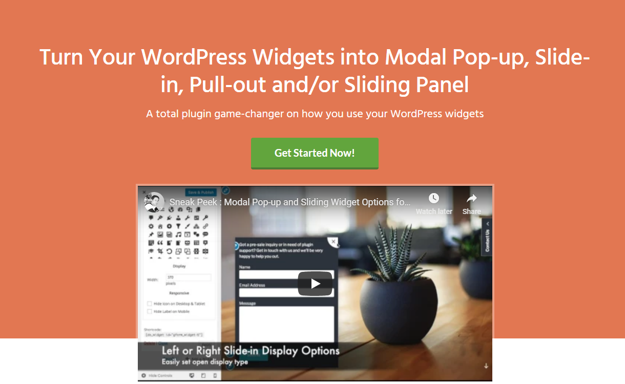 modal pop up and sliding widget options