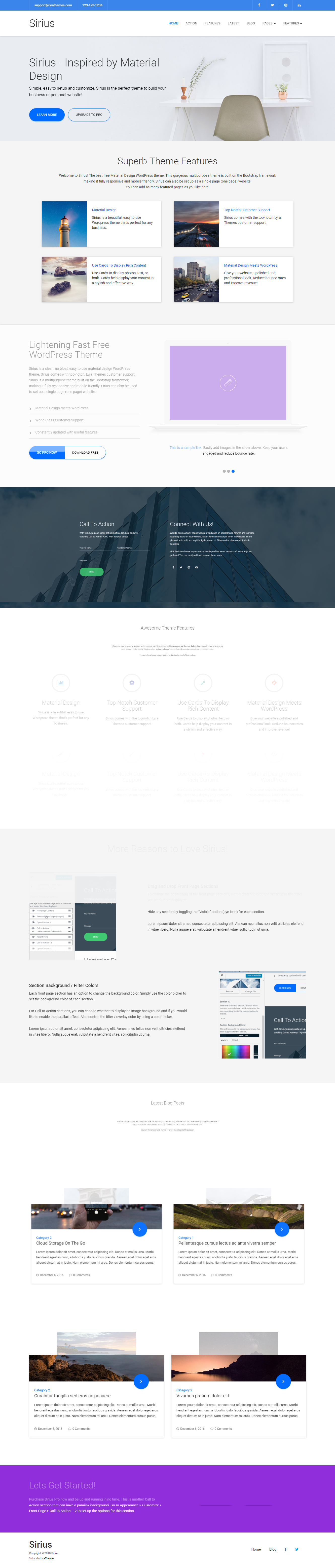 Sirius Lite - Best Free Material Design WordPress Theme