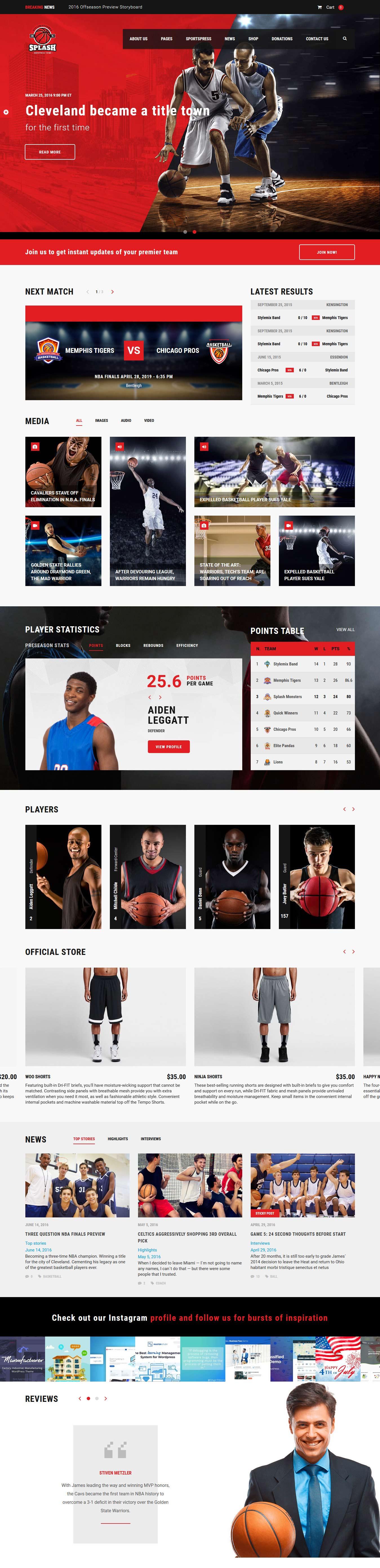 Splash -Best Premium Sports WordPress Theme