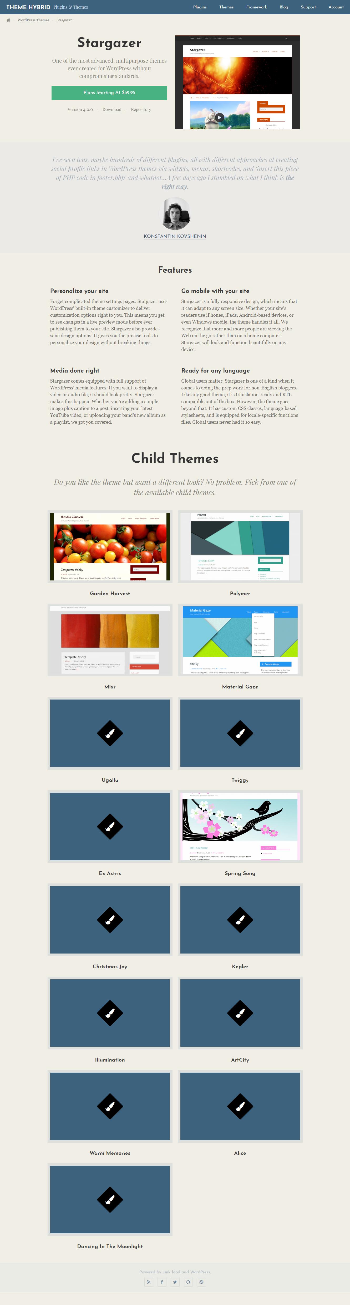 Stargazer - Best Free Material Design WordPress Theme