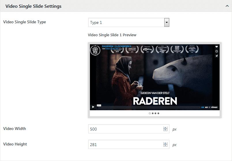 WP1 Slider Pro: Video Single Slide Settings