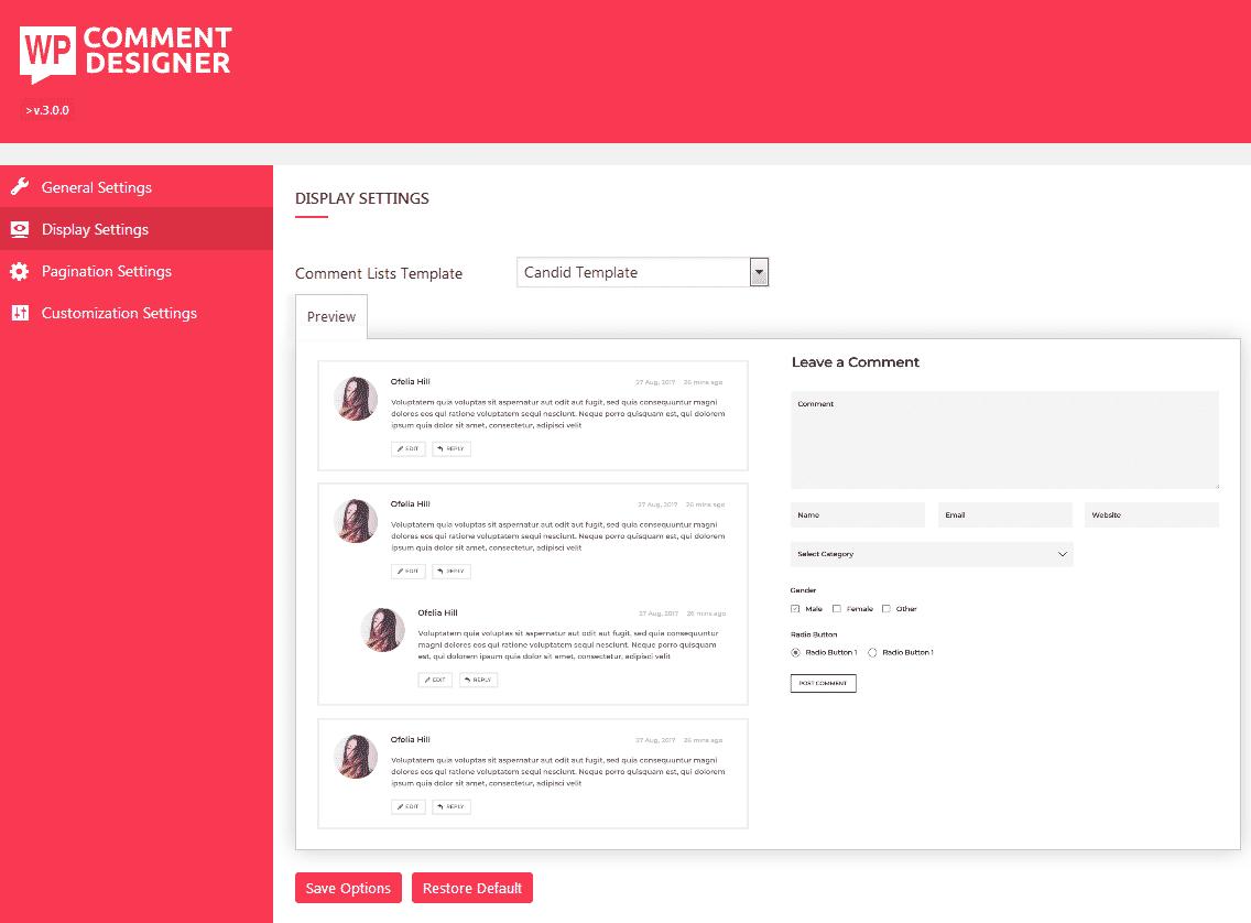 WP Comment Designer: Display Settings