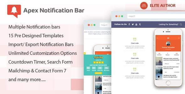 Best WordPress Notification Bar Plugin: Apex Notification Bar