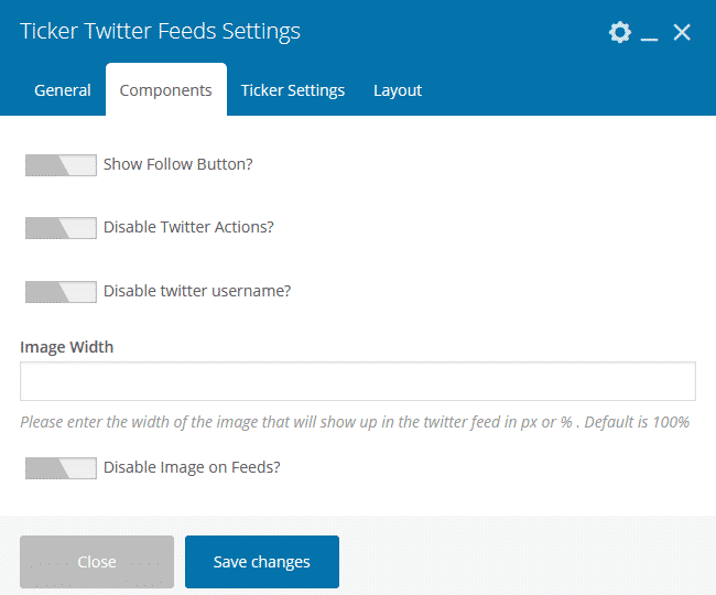 Twitter Feed Addon for Visual Composer: Component Slider View Settings