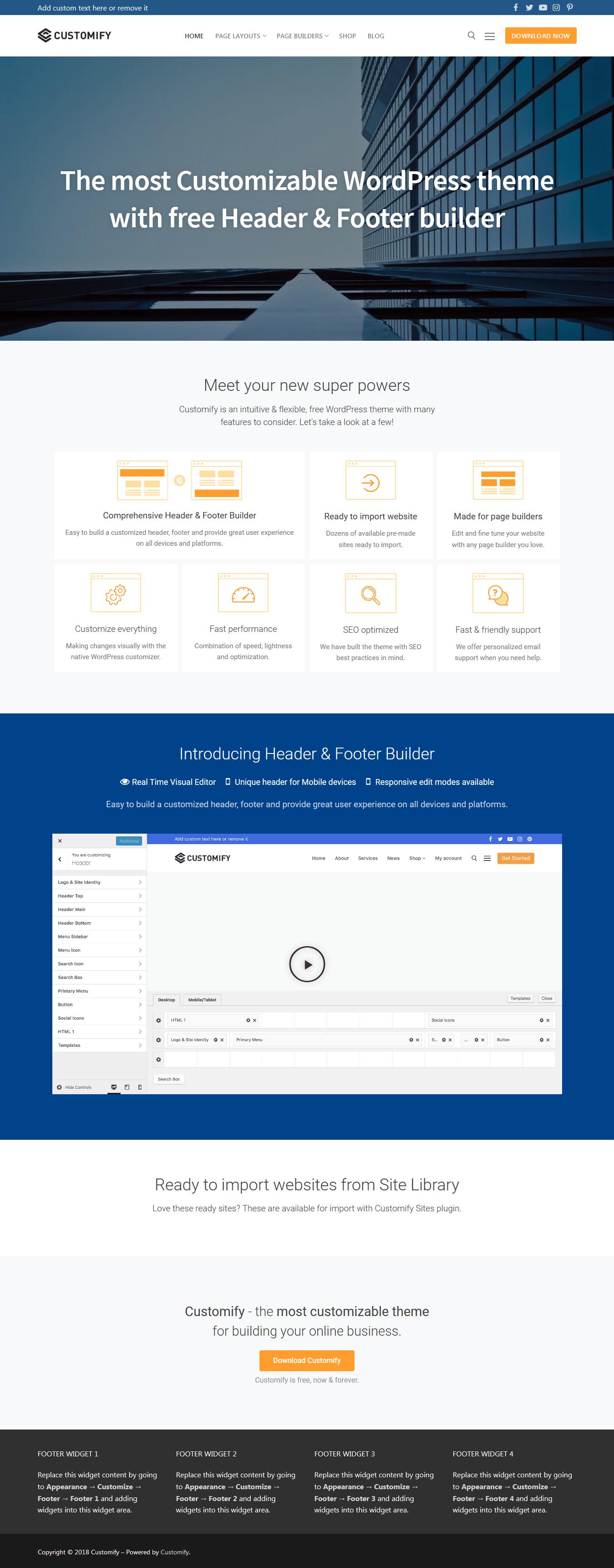 Customify - Best Free BuddyPress WordPress Theme