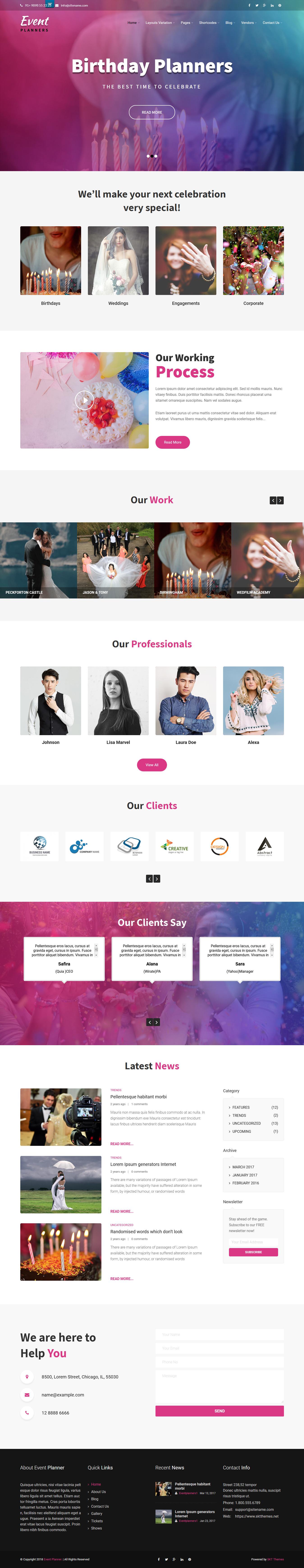 Event Planners - Best Free Event WordPress Theme