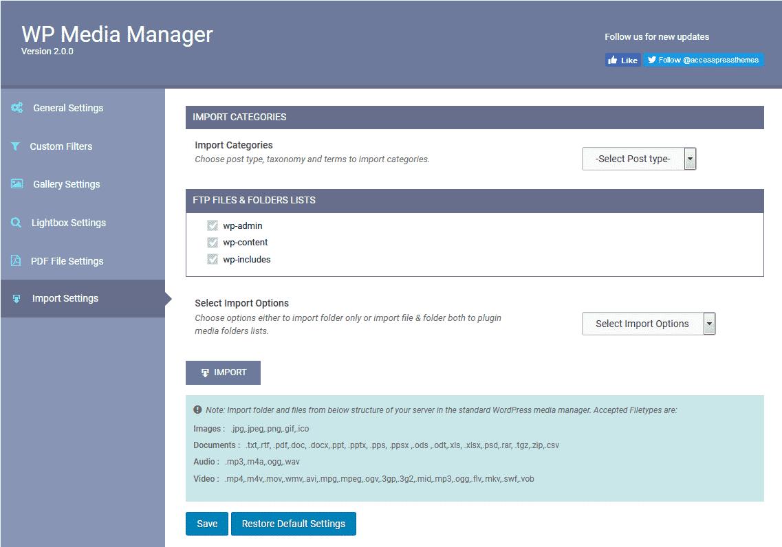 WP Media Manager: Import Settings