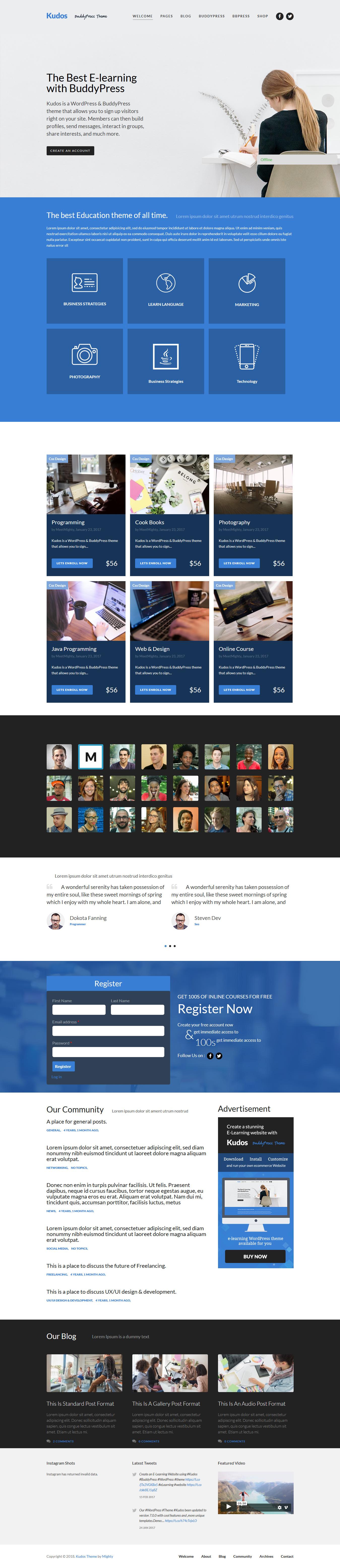 kudos best premium buddypress wordpress theme 1 - 10+ Best Premium BuddyPress WordPress Themes