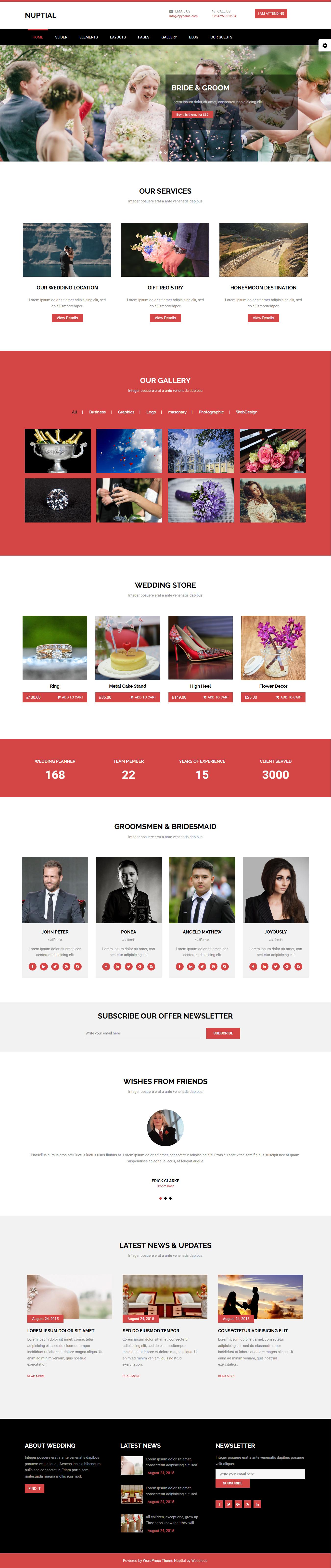 nuptial best free wedding wordpress theme 1 - 10+ Best Free Wedding WordPress Themes