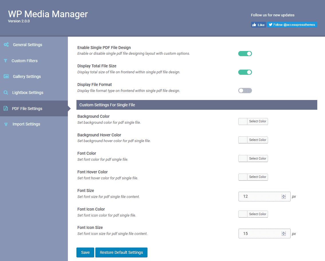 WP Media Manager: PDF File Settings